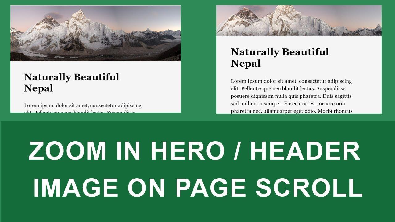 Create Header/Hero Image Zoom On Page Scroll - Tutorial