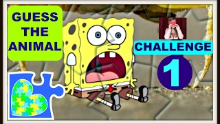 CHALLENGE SPONGEBOB GUESS THE ANIMAL PUZZLE VIDEO FOR KIDS!