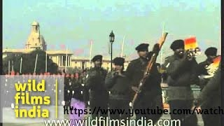 Military contingents synchronised march past at the Republic Day Parade, New Delhi
