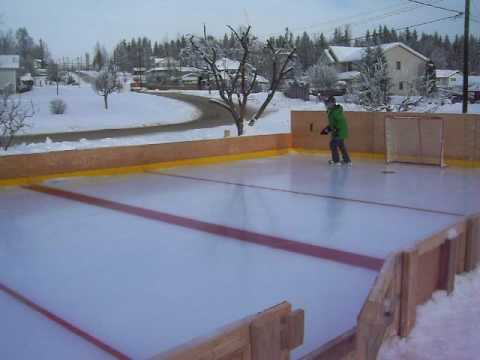 Homemade ice rink Quesnel 2 - YouTube