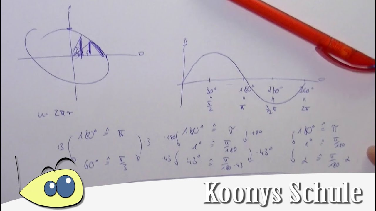 Gradmaß vs  Bogenmaß | Zusammenhang, Formel und die Logik dahinter,  trigonometrische Funktionen