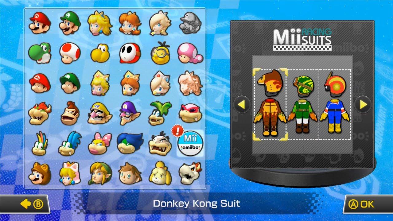 Mario Kart 8 All Amiibo Character Suits Youtube