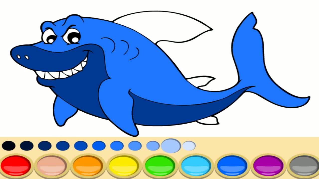 Акула раскраска, раскрашиваем акулу, раскраска для детей ...