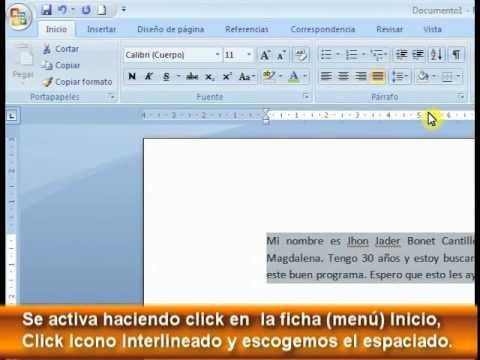 Leccion 3 interlineado y correcci n ortogr fico en word for En word cual es el interlineado