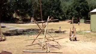 Scout Lashed Trebuchet Pioneering Lashing Project Hurled A Softball The Entire Length Of The Field!
