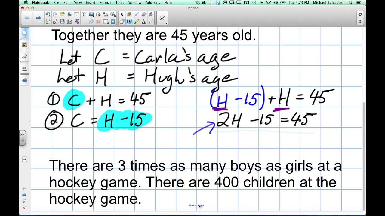 Creating Equations From Word Problems Grade 9 Academic Lesson 3 4 11 19 13