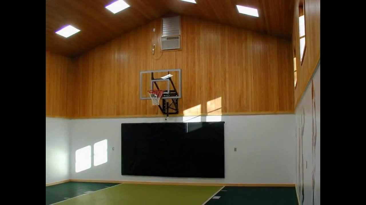 Private indoor basketball court youtube for Homemade basketball court