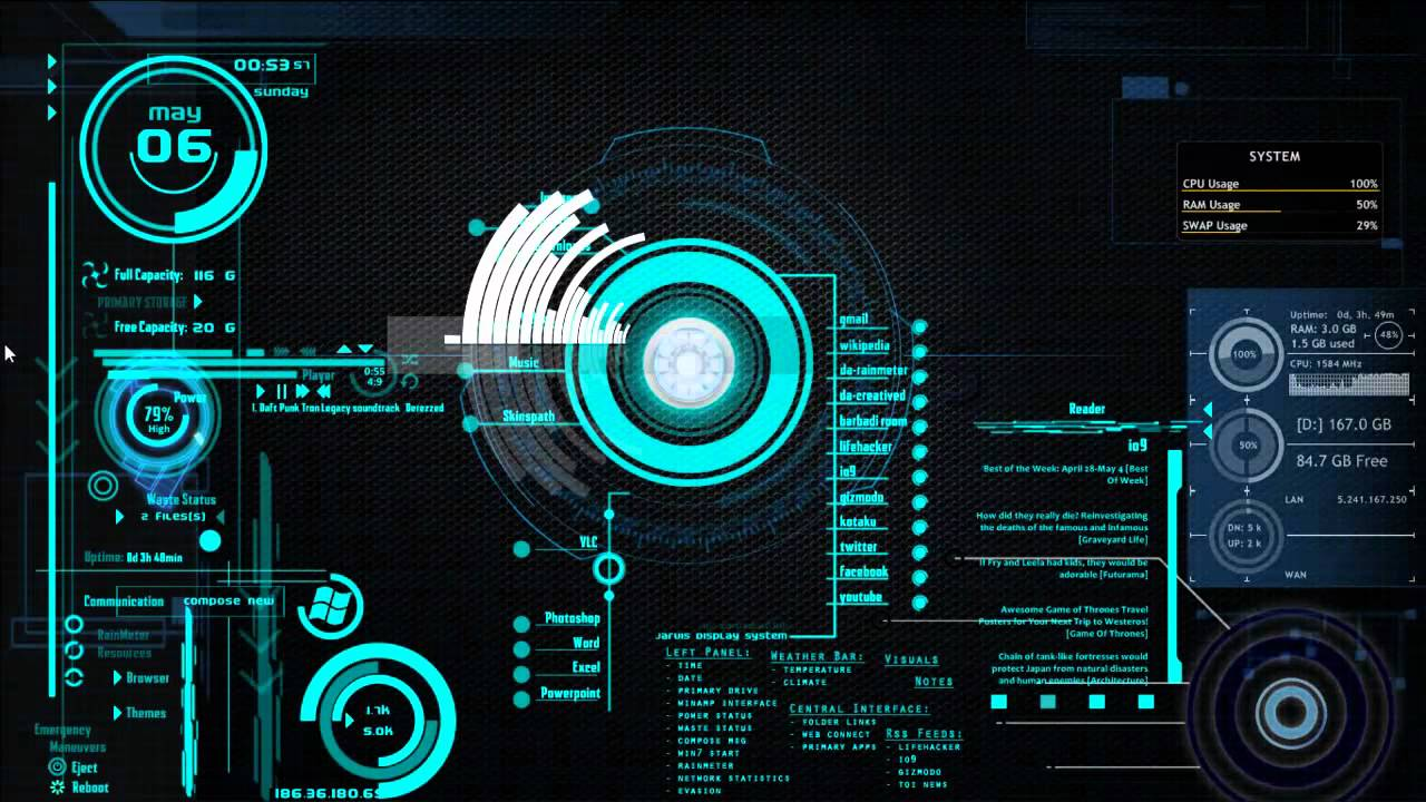 Rainmeter+Theme JARVIS