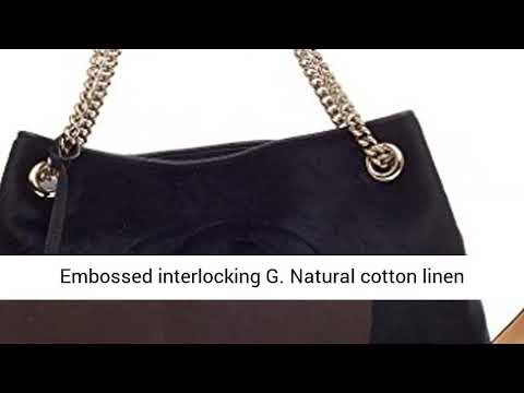 be0a0f681 Gucci Soho Medium Black Double Leather Chain Shoulder Bag Tote Black Gold  New
