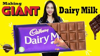 Making GIANT DAIRY MILK CHOCOLATE BAR at Home | Giant Food Challenge | Life Shots