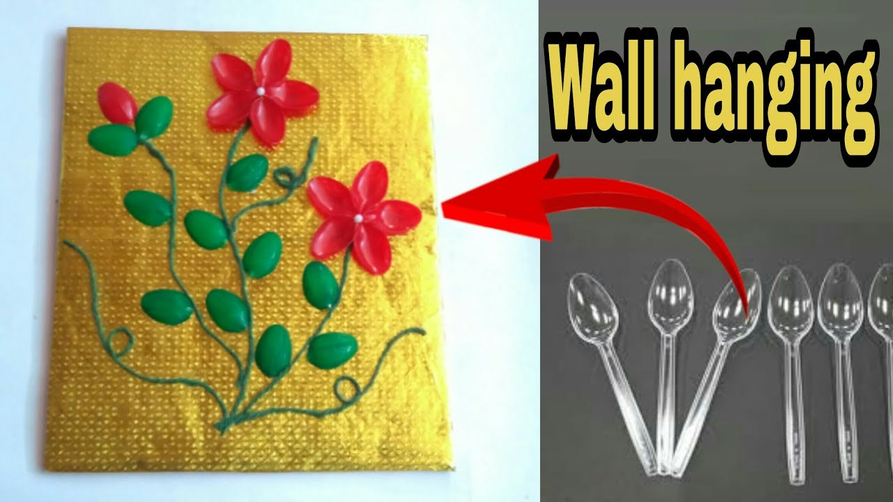 Plastic spoon craft work | wall decoration ideas | wall hanging ...