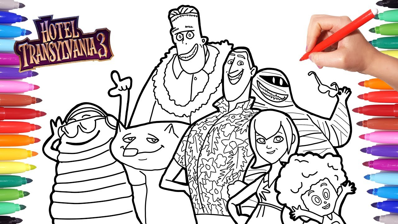Hotel Transylvania 3 Summer Vacation Coloring Pages For Kids Dracula Blobby Dennis Frank