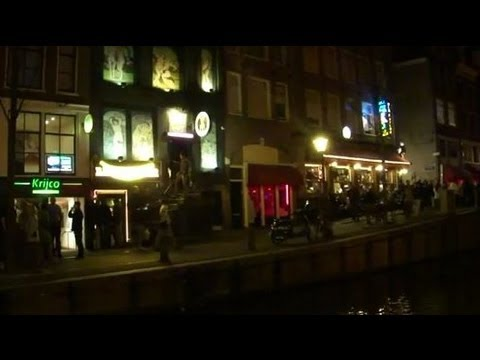 Amsterdam Red Light District Night Time Scenes Near