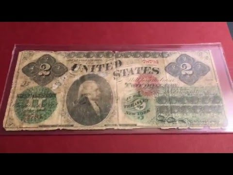 Earliest United States Paper Money $2 Bill 1862 (Rare U.S. Banknote)