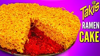 TAKIS RAMEN CAKE! - How To Make Spicy Noodles Flamin&#39 Hot Cake DIY