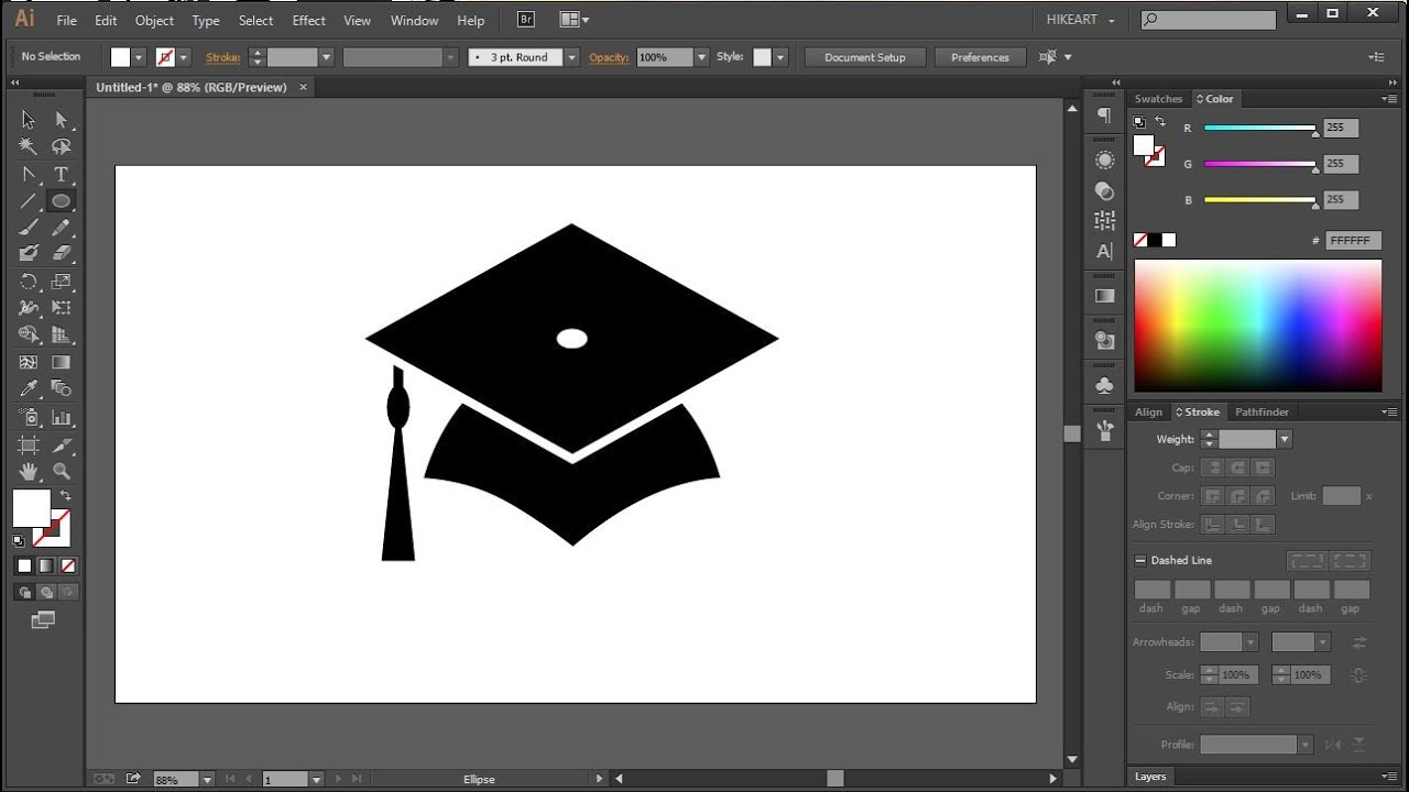 How to Draw a Graduation Cap in Adobe Illustrator - YouTube