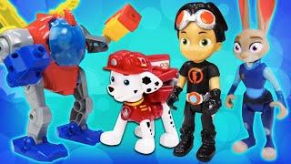 Видео про игрушки. Расти Механик перегружен! Джуди Хопс, Щенок Маршал и Леонардо нужно помочь!