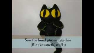 Halloween How to make Black Cat Plushie Tutorial