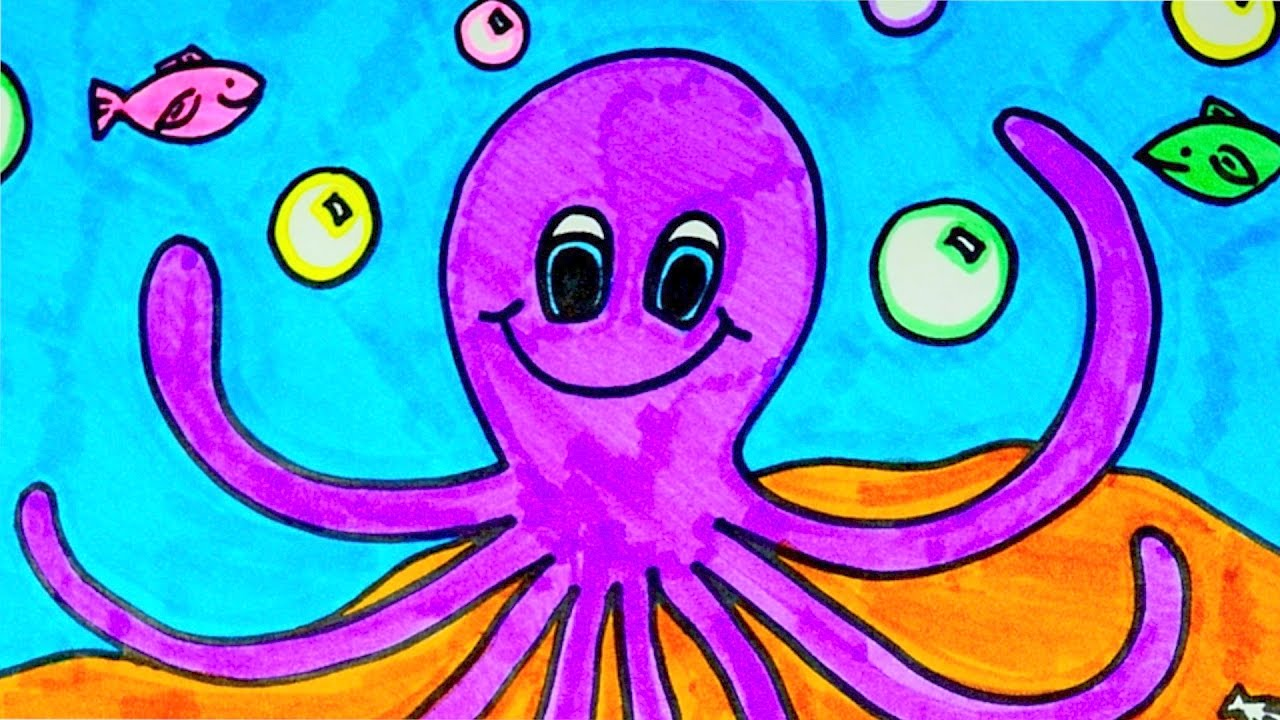 How To Draw An Octopus Kids Coloring Video Youtube