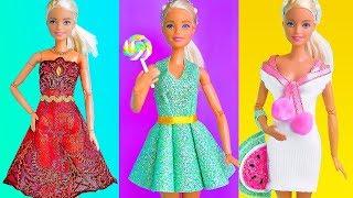 3 DIY Barbie Dresses ~ How to make Barbie Clothes