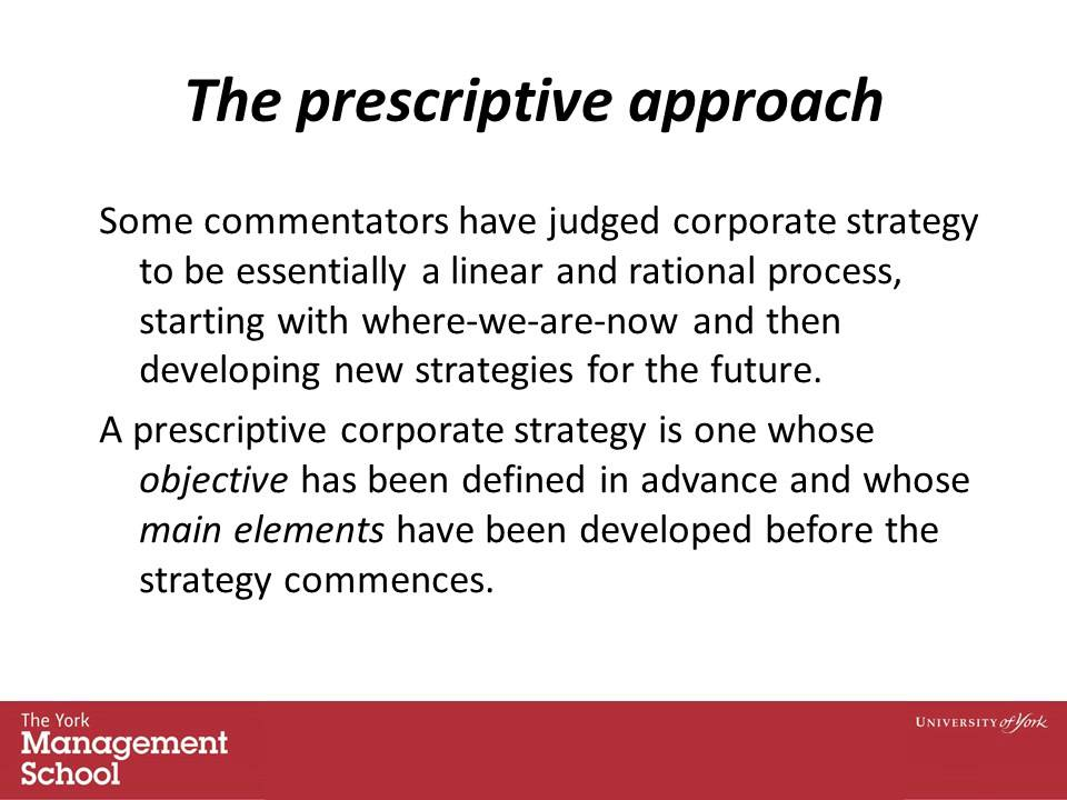 emergent versus prescriptive strategy Strategies, deliberate and emergent  (1985) about intended and emergent strategy is one of the most famous theories in the strategy process this model gives the .