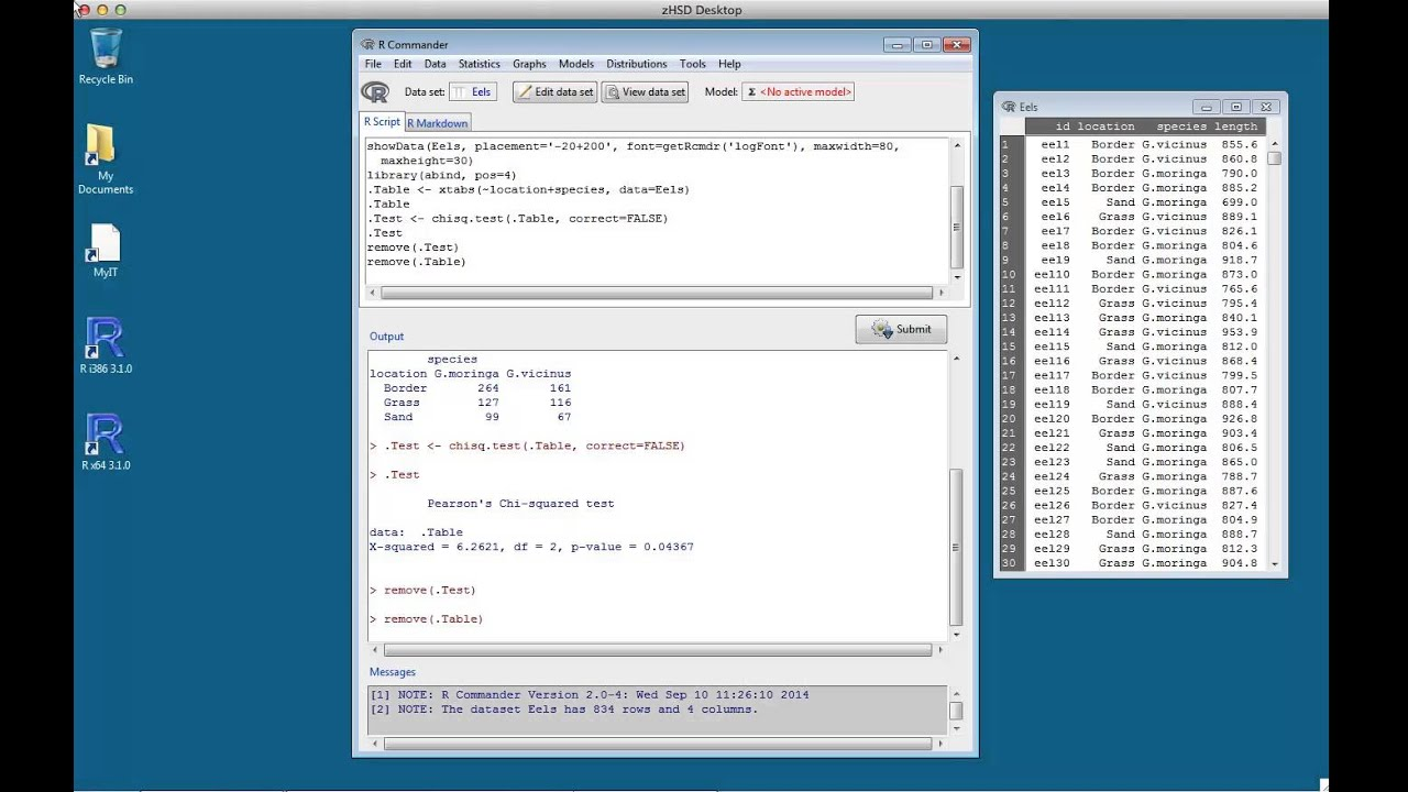 Chi Squared Tests in R Commander   Western Sydney University