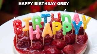 Grey  Cakes Pasteles - Happy Birthday