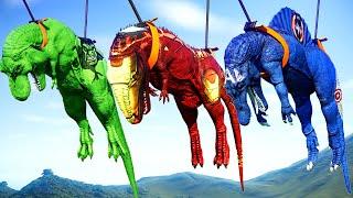 Battle Arena Fight Scene - 4 T-Rex Vs 4 I-Rex, 4 Spinosaurus, 4 Giganotosaurus Fight