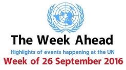 The Week Ahead- starting 26 September 2016