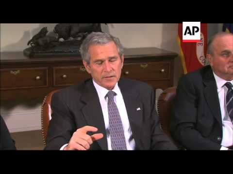 "President George W. Bush comments to the press about the ""No Child Left Behind Act"""