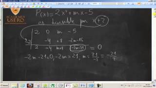 Calcular m para polinomio divisible entre x-2 UD02 Matemáticas 4º ESO B Academia Usero