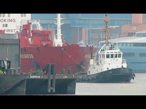 precision work HARBOUR PROGRESS CQNY IMO 9572745 2 tugs maneuvering big tanker through Inner Emden P