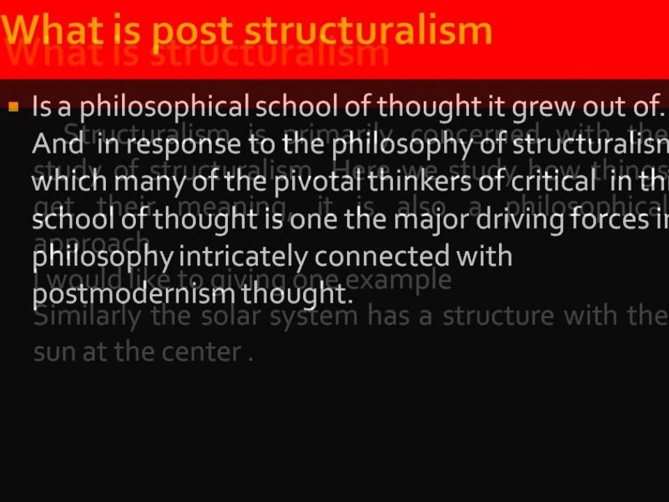 post structuralism thesis Post-structuralism is associated with the works of a series of mid-20th-century french,  jacques derrida presented a thesis on an apparent rupture in intellectual life derrida.