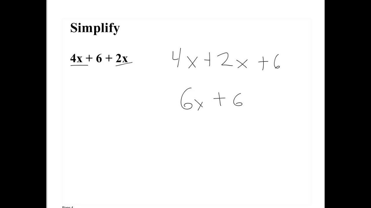 worksheet Pre Algebra Expressions pre algebra simplifying algebraic expressions 10615 youtube 10615