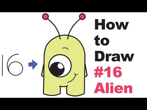 How to draw cute cartoon aliens from numbers 16 easy step by step drawing for kids
