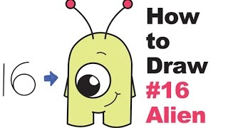 "How to Draw Cute Cartoon Aliens from Numbers ""16"" Easy Step by Step Drawing for Kids"