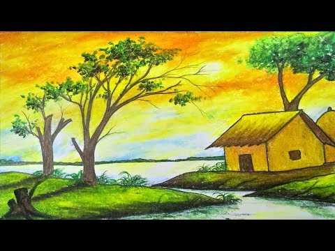 How to draw scenery/landscape of sunset step by step with color (easy drawing video)