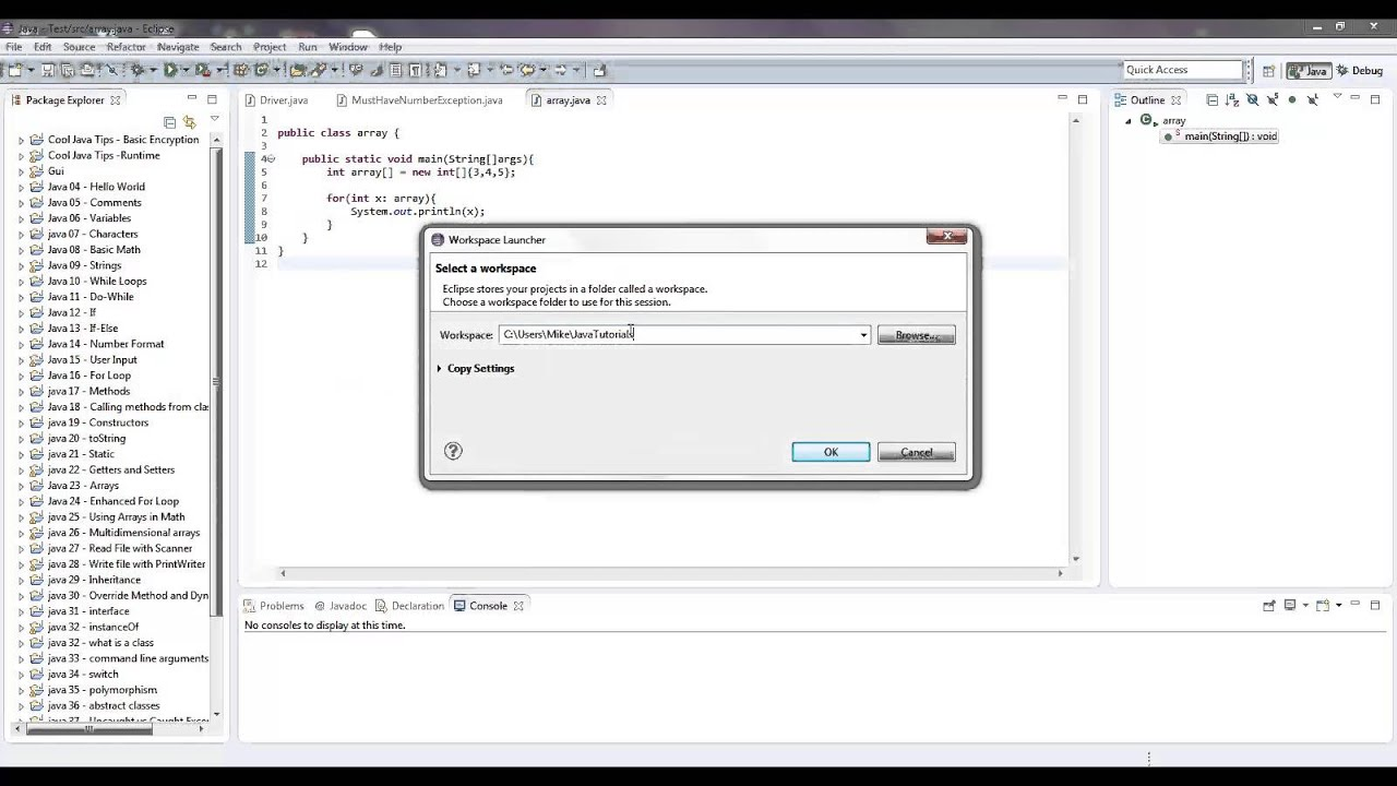 Java Eclipse Change Workspace Or Create New Workspace Youtube