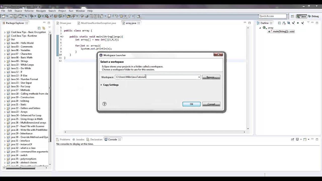 Java eclipse change workspace or create new workspace youtube baditri Gallery