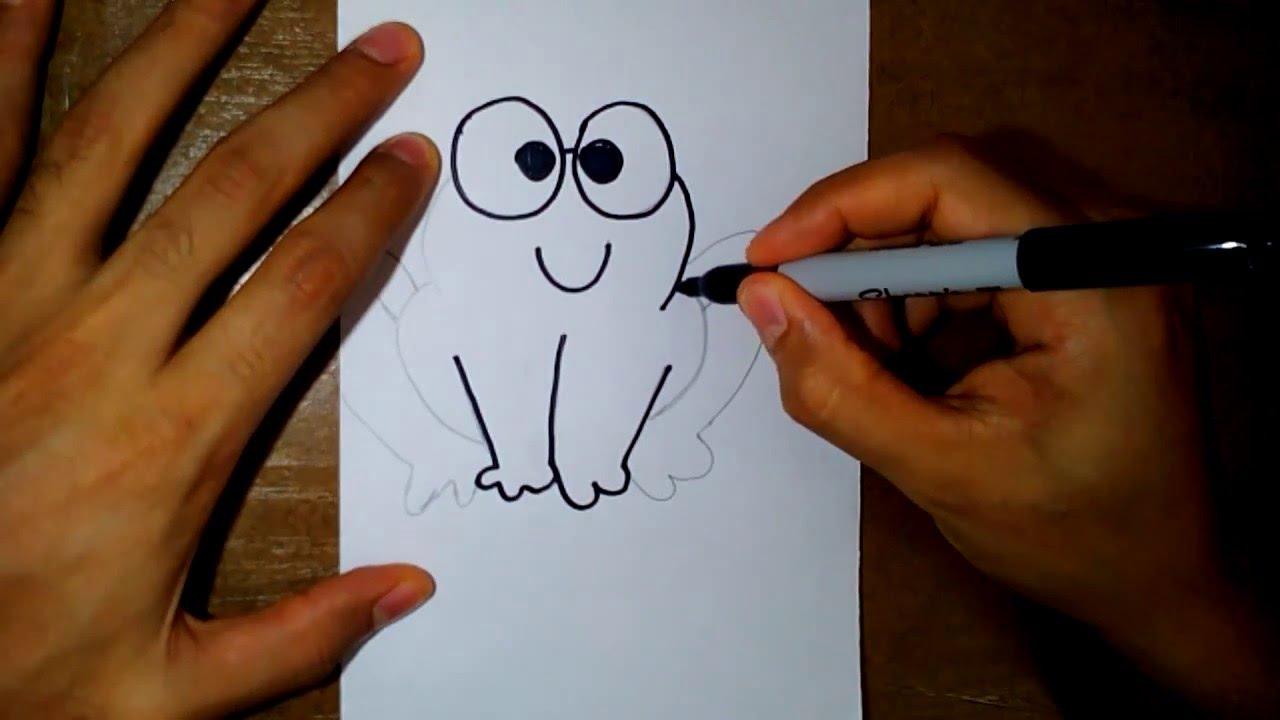 como dibujar un sapo-how to draw a frog - YouTube