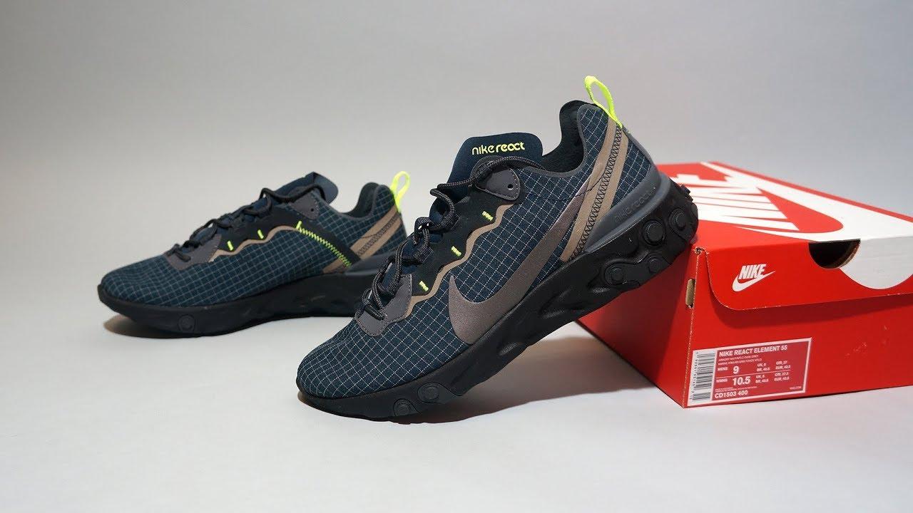 221ccf117ba3 Nike React Element 55 Armory Navy Volt CD1503-400 - YouTube
