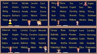 GIRL Names! 100 Most Popular Baby Girl Names in English | American English Pronunciation
