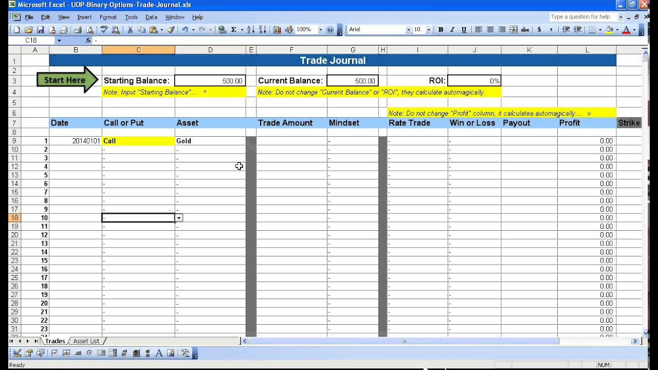 Binary options in excel