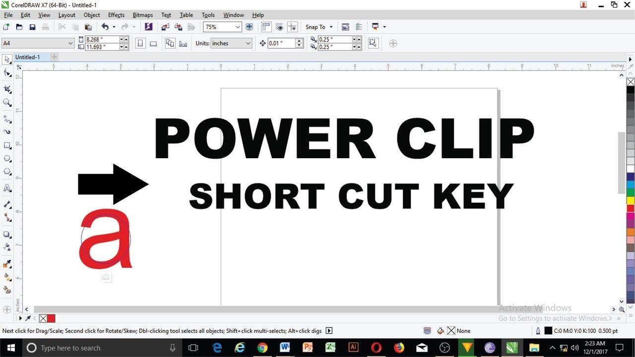 shortcut key of powerclip in coreldraw youtube