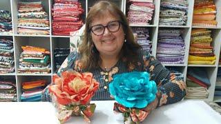 Peso de porta ou enfeite com Flor de Organza e Cetim – parte 1