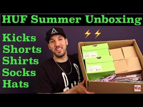 huge-summer-unboxing-from-huf!-kicks,-shorts,-shirts,-socks,-hats