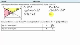 Zadanie 13. Kąty w trójkącie i prostokącie. Egzamin przykładowy ósmoklasisty CKE | MatFiz24.pl