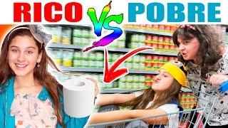 RICO VS POBRE NO SUPER MERCADO COM MINHA MÃE 😂 (Mileninha -10 anos)