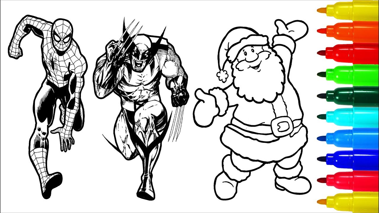 Spiderman Iron Man Santa Claus Superheros Coloring Pages Colouring Pages For Kids Youtube