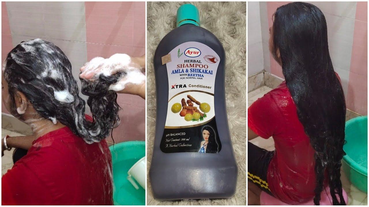 Download Ayur amla, reetha shikakai herbal shampoo review and demo// sikh boy long hair routine